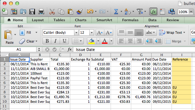 How To Export Non EU Purchases in Bullet Free Accounting Software