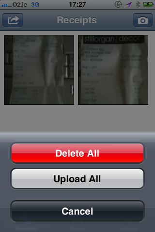 Fig 1. Receipts Upload Screen - Bullet iPhone App