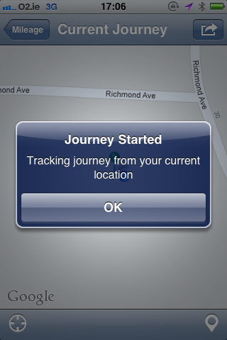Fig 1. Mileage Journey Started for Bullet iPhone App - iPhone App For Mileage