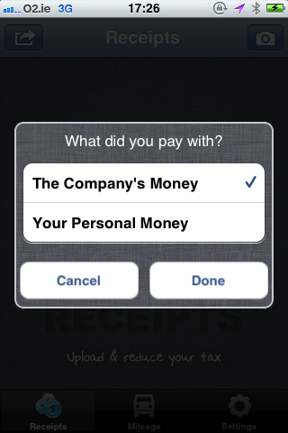 Fig 2. Receipts Selecting Book - Bullet's iPhone App