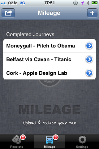 Fig 3. Mileage Recorded Journeys for Bullet iPhone App - iPhone App For Mileage