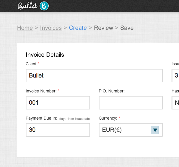 Bullet - Create an online invoice