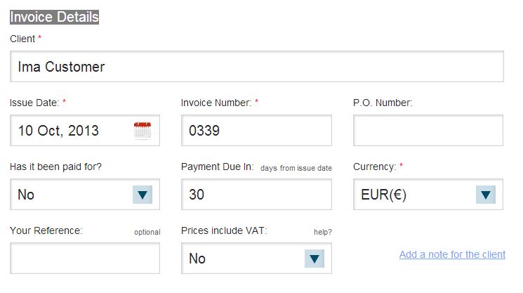 Create an invoice in Bullet Application