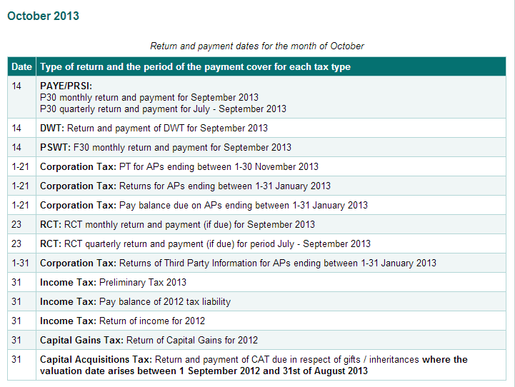 October Tax Deadlines Table