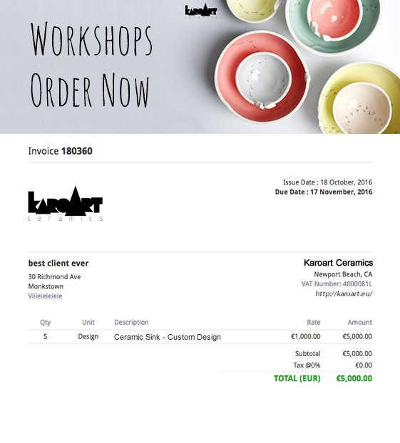 Online invoice with a beautiful header image