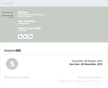 Image shows the invoice header of Sweet.ie