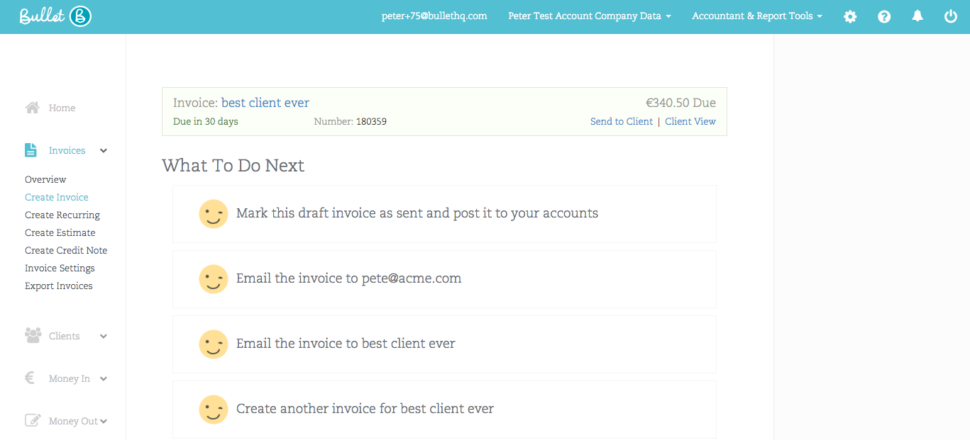 This screen grab is about Bullets small business accounting workflows