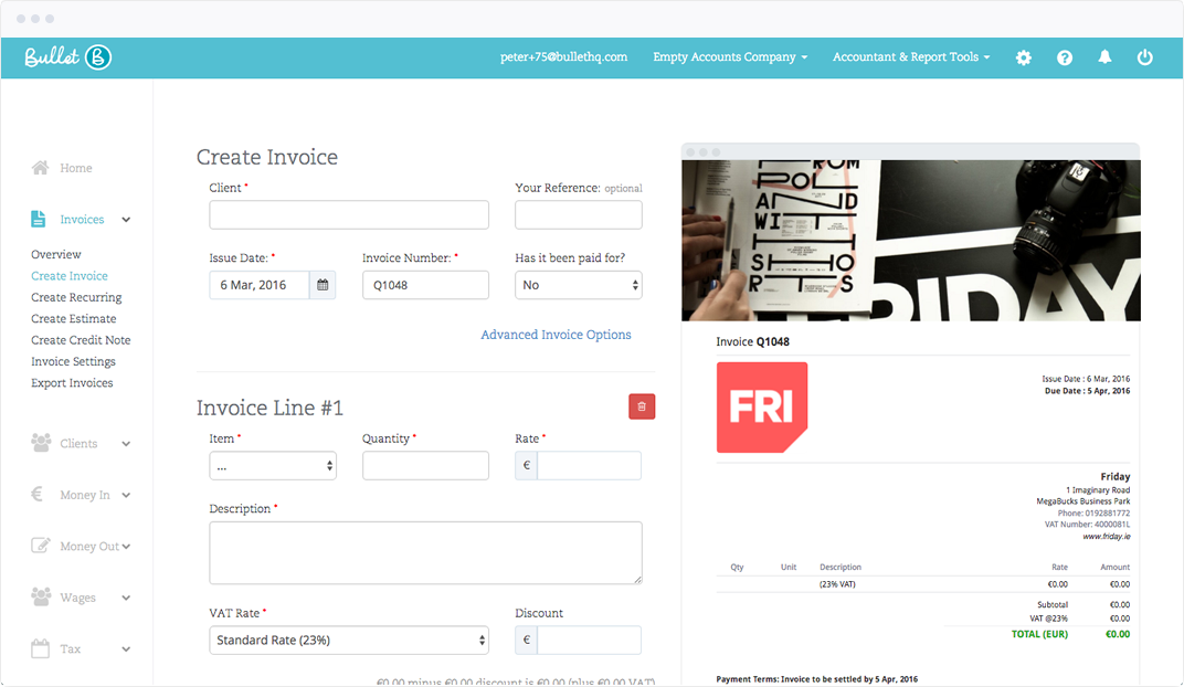 Screen grab of a full page of Bullet Online Invoice Software