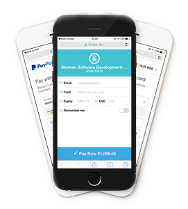 Image displays a message that Bullets mobile invoicing payments accept Paypal, Stripe and over 100 credit and debit cards on mobile too