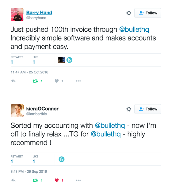 Image of people recommending Bullet small business software, via twitter.