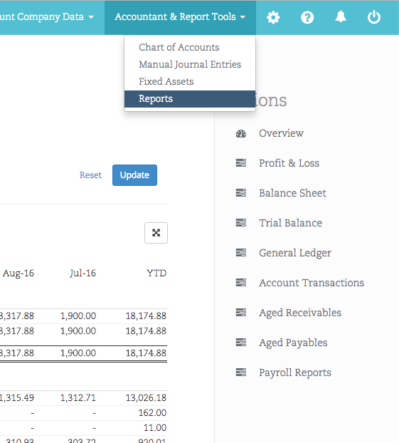 Screen grab showing Bullets small business reports, like Overview, Profit & Loss, Balance Sheet, Trial Balance, General Ledger, Account Transactions, Aged Receivables, Aged Payables, Payroll Reports