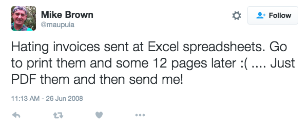 Excel alternative customer Mike giving out about excel on twitter