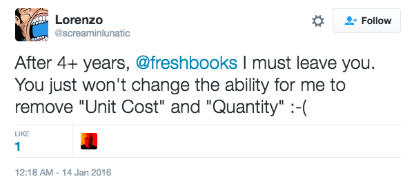 Alternative to Freshbooks customer Crystal giving out about freshbook on twitter.