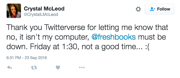 Freshbooks customer giving a negative tweet about their online accounting software