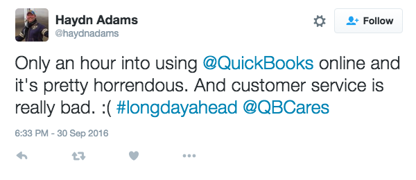 Quickbooks alternative customer Haydn giving out about quickbooks on twitter