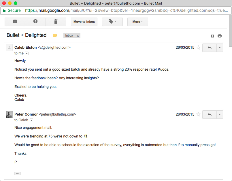 Email from Joel of Delighted.com