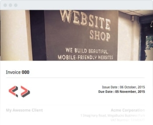 testimonials website shop invoices