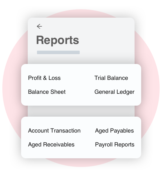 Screen grab showing Bullets small business reports and how you can compare reports, like Overview, Profit & Loss, Balance Sheet, Trial Balance, General Ledger, Account Transactions, Aged Receivables, Aged Payables, Payroll Reports